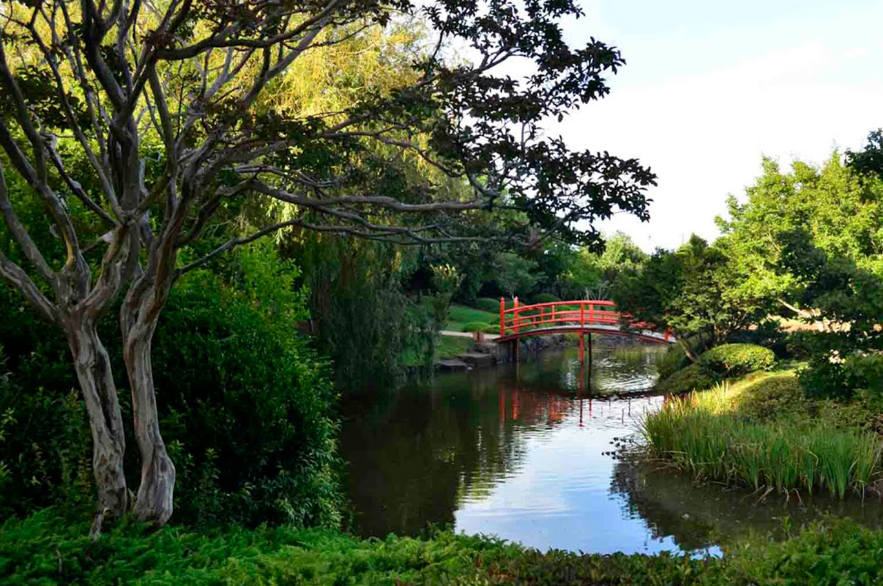 Famous sight of bridge in Japanese Garden